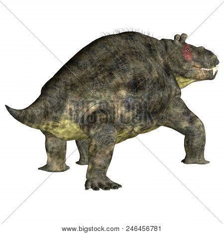 Estemmenosuchus Uralensis Dinosaur Tail 3d Illustration - Estemmenosuchus Uralensis Was An Omnivorou