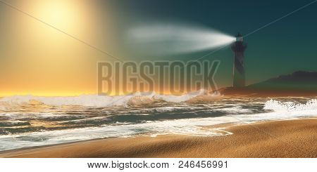 Lighthouse Beach 3d Illustration - Twilight Overtakes A Seashore As A Nearby Lighthouse Lights Up Th