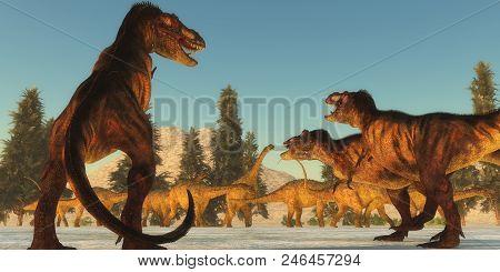 Tyrannosaurus Attack 3d Illustration - A Tyrannosaurus Rex Pack Plans An Attack On A Herd Of Uberaba