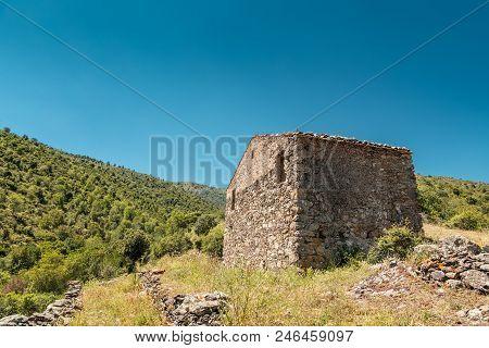Derelict Stone Farm Building In Balagne Region Of Corsica