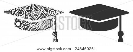 Graduation Cap Composition Of Service Tools. Vector Graduation Cap Icon Is Created Of Gears, Wrenche