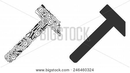 Hammer Mosaic Of Service Instruments. Vector Hammer Icon Is Constructed Of Gear Wheels, Spanners And