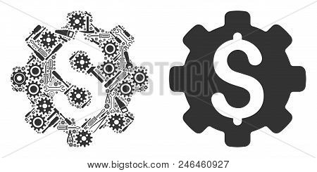 Industrial Capital Composition Of Service Instruments. Vector Industrial Capital Icon Is Designed Fr