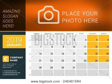 January 2019. Desk Calendar For 2019 Year. Vector Design Print Template With Place For Photo, Logo A