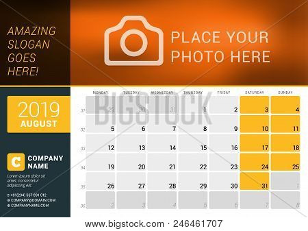August 2019. Desk Calendar For 2019 Year. Vector Design Print Template With Place For Photo, Logo An
