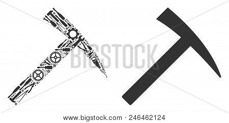 Mining Hammer Mosaic Of Service Instruments. Vector Mining Hammer Icon Is Made Of Gears, Hammers And