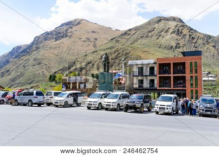 STEPANCMINDA - MAY 4: View of the mountain town on 4 May 2018 in Stepancminda, Georgia. Stepancminda is located in the northeast of Georgia and is the starting point for the Kazbek mountain.