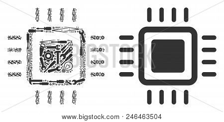 Processor Collage Of Workshop Instruments. Vector Processor Icon Is Created From Gearwheels, Screwdr