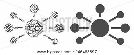 Relation Links Collage Of Workshop Tools. Vector Relation Links Icon Is Made With Gear Wheels, Spann