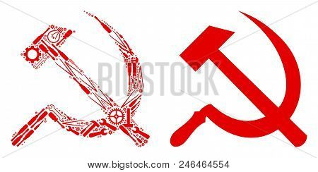 Sickle And Hammer Composition Of Service Tools. Vector Sickle And Hammer Icon Is Done Of Gearwheels,