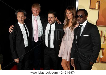NEW YORK - OCTOBER 24: Brian Grazer, Donald Trump, Brett Ratner, Melania Trump and Sean Combs (Diddy) attend the premiere of