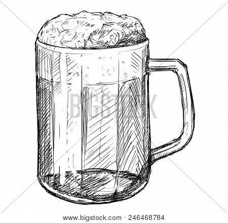Ector Artistic Pen And Ink Sketch Drawing Illustration Of Beer Mug Or Half-liter.