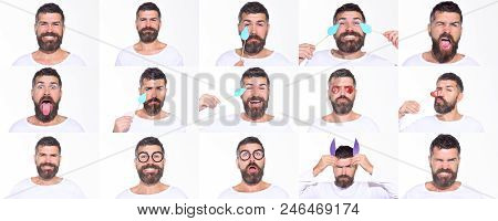 Emoji Set Of Bearded Man. Collage Of Emotions. Different Emotions. Feeling And Emotions. Face Expres