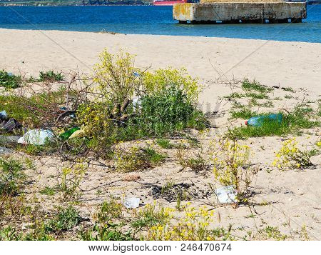 Lot Of Garbage And Plastic Bottles On The River Shore. Environmental Pollution Problem. Beach Pollut