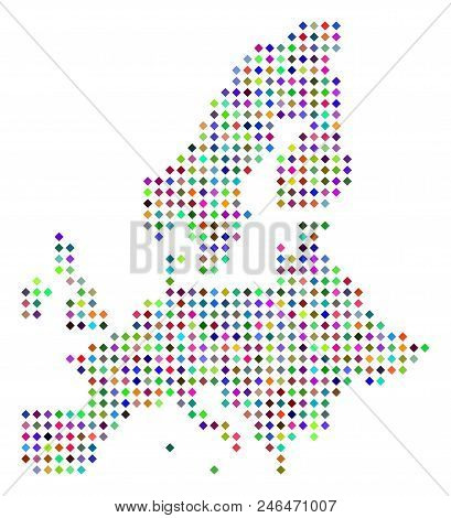 Multicolored Dotted European Union Map. Vector Concept Of European Union Map Composed Of Rhombus Dot