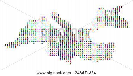 Multicolored Dotted Mediterranean Sea Map. Vector Abstraction Of Mediterranean Sea Map Designed Of R