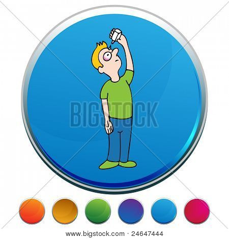An image of a man using eyedrops on a colorful button.