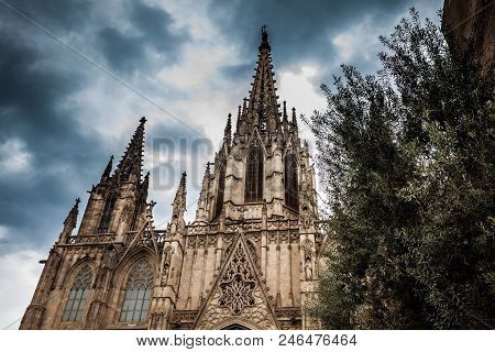 Barcelona - March, 2018: Palau Episcopal De Barcelona At The Gothic Square In Barcelona, Spain
