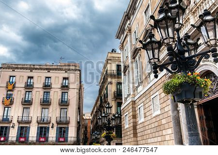 Barcelona - March, 2018: Placa De Sant Jaume At The Gothic Square In Barcelona, Spain