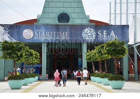 Singapore -23 Jun 2018: : The Maritime Experiential Museum And Aquarium On Sentosa Island In Singapo