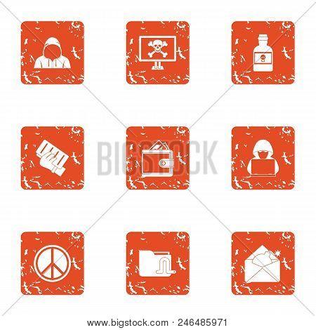 Exploit Icons Set. Grunge Set Of 9 Exploit Vector Icons For Web Isolated On White Background
