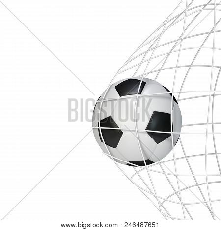Soccer Game Match Goal Moment With Ball In The Net. Vector Illustration Isolated On White Background
