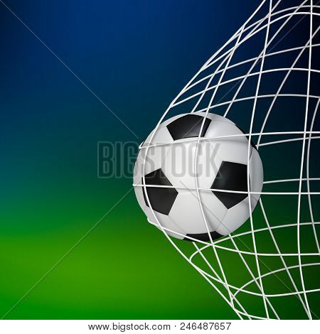 Soccer Game Match Goal. Football Ball In The Net. Vector Illustration Isolated On Blur Background
