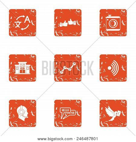 Conversion Icons Set. Grunge Set Of 9 Conversion Vector Icons For Web Isolated On White Background