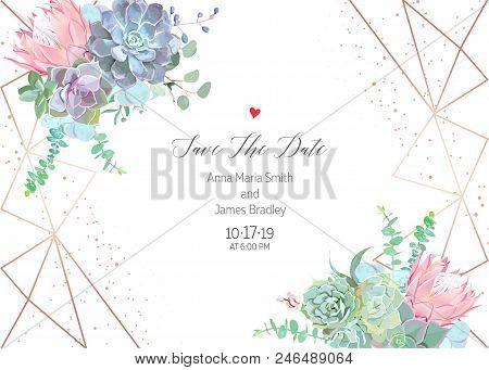 Polygonal Floral Vector Design Frame With Glitter. Pink Protea, Blue Echeveria Succulent, Eucalyptus