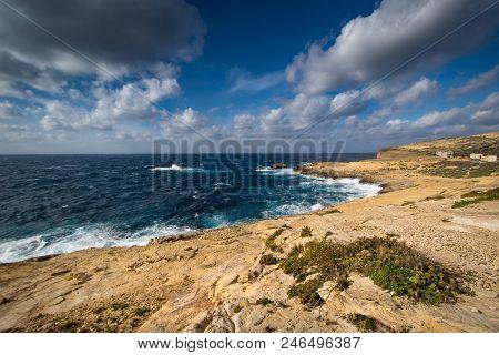 Coastline Near Dwejra Bay, Mediterranean Sea, Island Of Gozo, Malta. Sea Landscape.