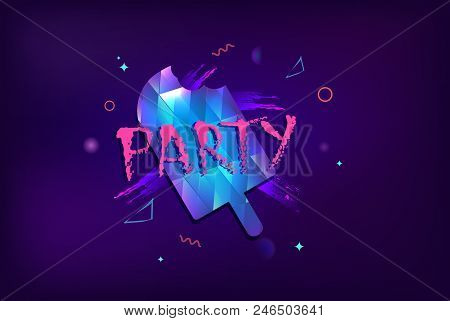 Party Banner With Ice Cream. Horizontal Flyer For Holiday Design With Shine And Geometric Decorative