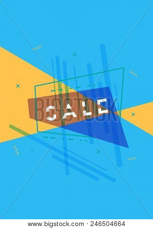 Sale Banner With Geometric Abstract Composition. Promotion Card With Text. Vertical Poster For Adver