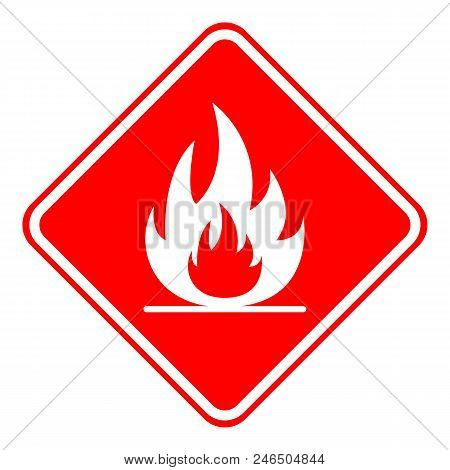 Highly Flammable Sign. Rhombus. Vector. Isolated On White Background.