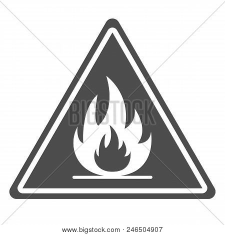 Flammable Sign. Triangle. Vector. Isolated On White Background.