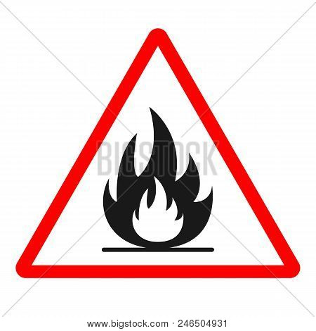 Highly Flammable Sign. Triangle. Vector. Isolated On White Background.