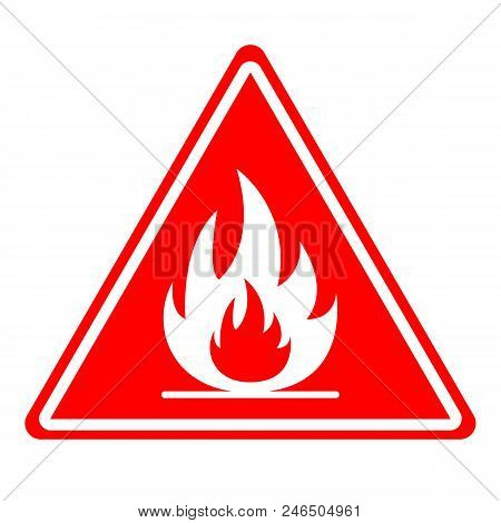 Fire Hazard Sign. Triangle. Vector. Isolated On White Background.