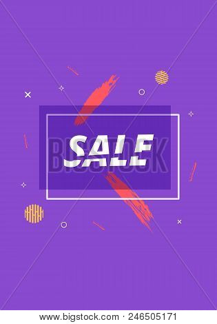 Sale Banner With Geometric Abstract Composition. Violet Promotion Card With Sliced Text. Vertical Po