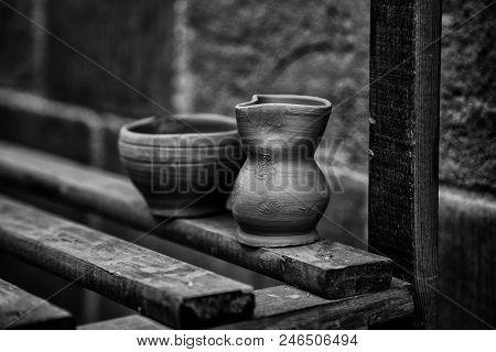 Artisan Clay Pots, Traditional Art Detail. Mud
