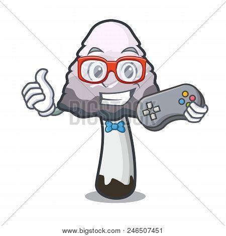 Gamer Shaggy Mane Mushroom Mascot Cartoon Vector Illustration