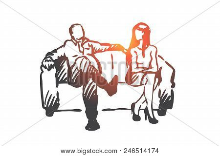 Producer, Film, Actress, Sexual, Harassment Concept. Hand Drawn Producer Offer Actress Role In Film