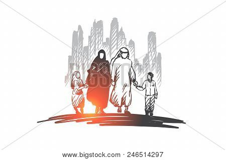 Arab, Family, Muslim, Culture Concept. Hand Drawn Traditonal Arab Family With Children Concept Sketc