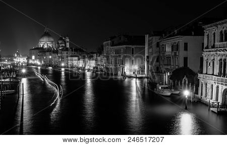 Travel Photo Of The Grand Canal At Night From The Iconic Rialto Bridge, One Of The Major Landmark In