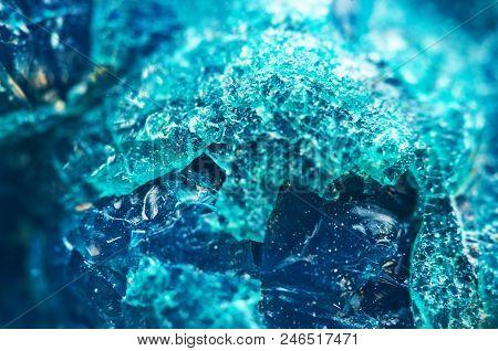 Crystal Stone. Beautiful Natural Turquoise Background. Macro. Extreme Closeup Beautiful Jewel Backgr