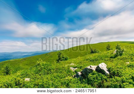 Grassy Hills Of Runa Mountain. Beautiful Green Environment In Summer. Moving Clouds, Long Exposure S