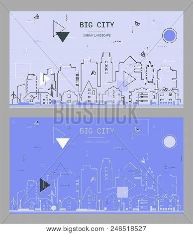 New Material Style Trendy Bold Linear Big City Illustration, In New Material Retro 80-90s Style Desi