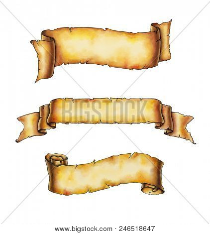 Vintage banners painted in watercolors. Digital illustration, clipping path included.