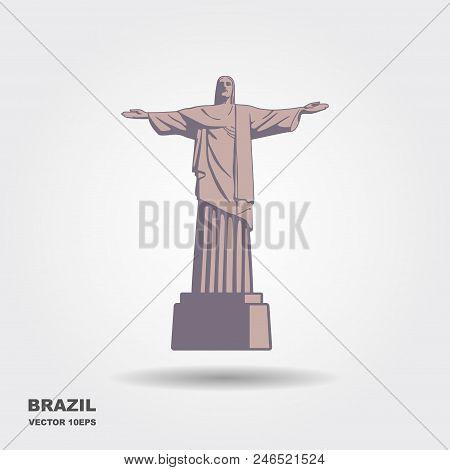 The Statue Of Christ The Redeemer In Rio De Janeiro, Brazil. Brazilian National Religious Landmark.