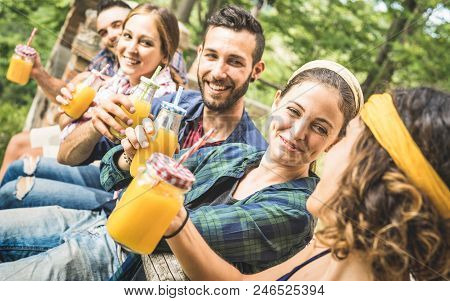 Happy Friends Drinking Healthy Orange Fruit Juice At Countryside Picnic - Young People Millennials H
