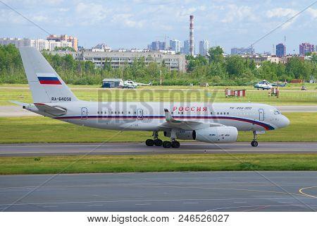 Saint Petersburg, Russia - June 20, 2018:  Aircraft Tupolev Tu-204-300 (ra-64058) Of Special Air Squ