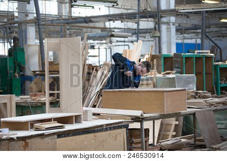 Belarus, The City Of Gomel, On April 26, 2018. Furniture Factory. Shop For Wood Processing And Furni